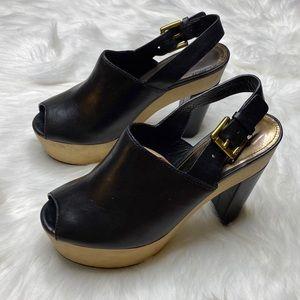 Coach Pretrina Black Leather Platform Heels 6.5